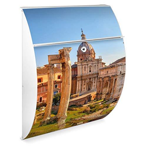 Burg Wächter Design Standbriefkasten | Modell Riviera 46cmx33,5cmx13cm groß | verzinkter Stahl Weiß mit Ständer | Postkasten freistehend, großer A4 Einwurf, 2 Schlüssel | Briefkasten mit Motiv Rom