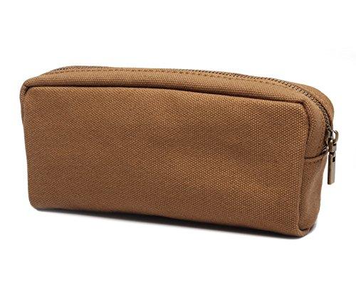 Karitco Plain Canvas Pencil Case with Brass Zipper 7.3 x 3 Inch (Coffee Brown)