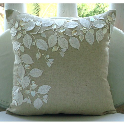 Linen Beauty - Decorativa Funda de Cojin 40 x 40 cm, Square Natural Beige Algodón Lino Cuero y Nácar Hojas Bordado