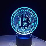 周囲光、 クリエイティブライト7色の変更アクリルツェッペリンテーブルランプUSBライト寝室パーティーデコレーションギフト象として、 (Color : Bitcoin Sign)