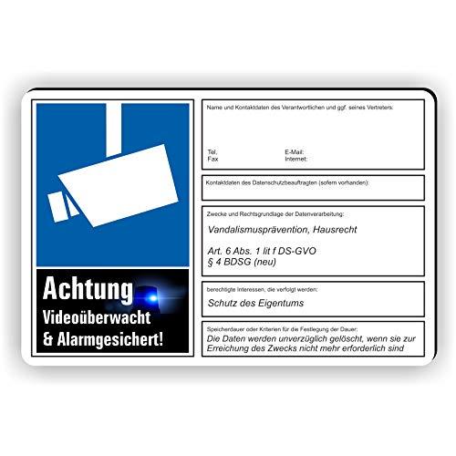 Fassbender-Druck SCHILDER dsgvo BDSG - Videoüberwachung Schild/VÜ-017 (45x30cm Schild)