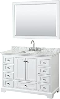 Wyndham Collection Deborah 48 inch Single Bathroom Vanity in White, White Carrara Marble Countertop, Undermount Square Sink, and 46 inch Mirror