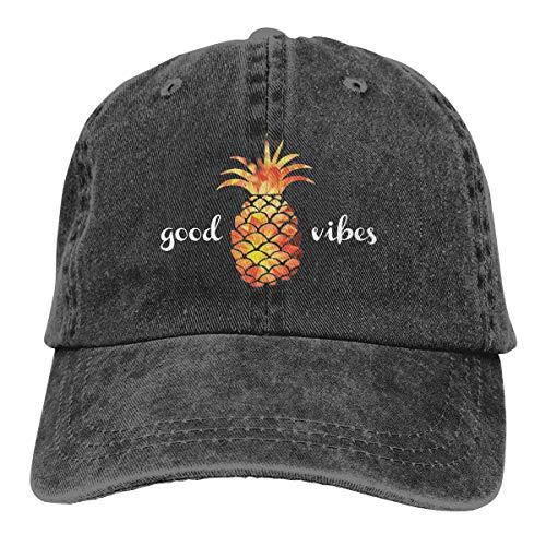 Waldeal Women's Pineapple Good Vibes Low Profile Baseball Cap Vintage Distressed Hat Black