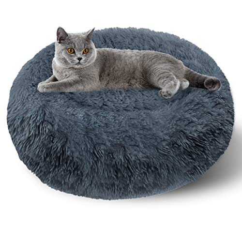 ETACCU Cama Redonda de Felpa para Gatos, casa para Perros, Cama para Mascotas, Cama para Mascotas pequeña con Forma de rosquilla Suave y cómoda 50 /60 / 70CM (50cm, Gris Oscuro)