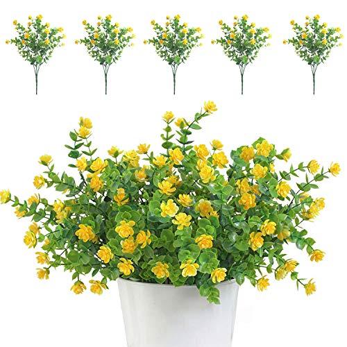 TSHAOUN 5 piezas Flores Artificiales Flor Falsas,Arbustos Verdes Resistentes a Los Rayos UV Plantas...