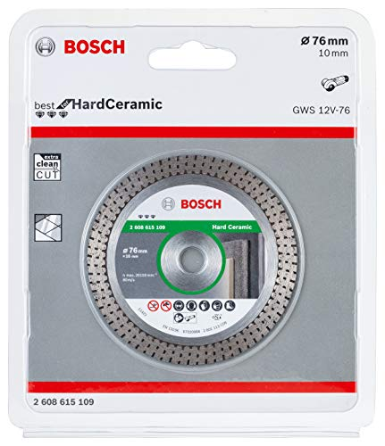 Bosch Professional Diamond Cutting Disc Best for Hard Ceramic (Tiles, 76 x 10 mm, Accessory Angle Grinder)