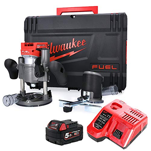 Milwaukee M18FTR 18V Fuel Cordless Trimmer Router with 1 x 5.0Ah Battery, Charger & Case