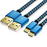 2X 4m câble Chargeur PS4 en Nylon pour contrôleur Playstation 4, câble Micro USB, câble Chargeur Micro USB, Micro USB, Gaine en Tissu, Prise en Aluminium, Bleu-Noir