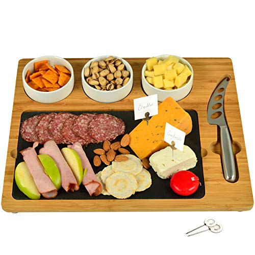 Picnic at Ascot Bamboo & Slate Cheese/Charcuterie Board - Includes 3 Ceramic Bowls, Cheese Knife & Cheese Markers- Patent Pending - Designed & Quality Checked in the USA