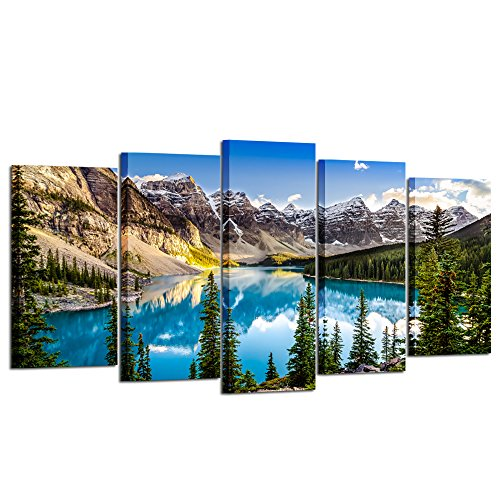 Kreative Arts - 5 Pieces Canvas Prints Wall Art Canada Moraine Lake And Rocky Mountain Landscape Pictures Modern Canvas Painting Giclee Artwork For Home Decoration (Large Size 60x32inch)