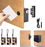 TAKHRWOD Electronic Cabinet Lock, with USB Hidden Magnetic Lock and RFID Locks for Hidden Gun Cabinets Wooden Pantry Cabinet Drawer Storage Magnetic Card Door Lock Key Fob Lock Key Card Lock Black