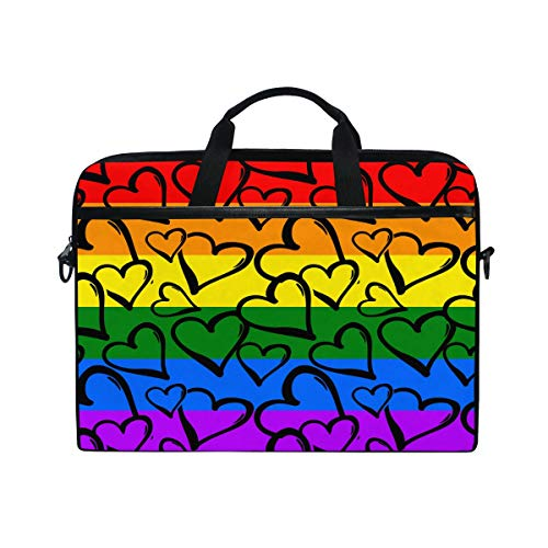 AGONA Love Gay Pride Colored Hearts Rainbow Laptop Shoulder Messenger Bag 15 inch Case Sleeve for 14 Inch Laptop Case Laptop Briefcase Compatible Notebook MacBook Ultrabook Chromebook