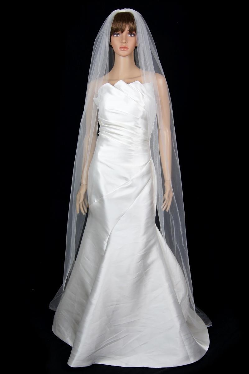 Bridal Wedding Classic Veil Ivory 1 Tier Long Chapel Length Standard Cut Edge