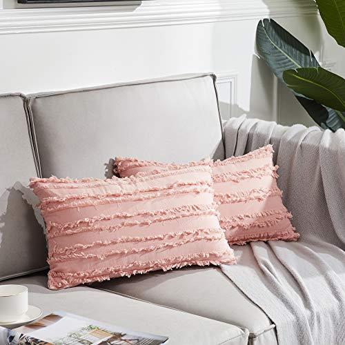 OMMATO Juego De 2 Amortiguador del Fundas Fundas de Cojín Cuadradas Decorativo Fundas de Almohada para Sofá Dormitorio 30x50 CM Rosa