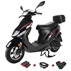 X-PRO 50cc moped brought by Moto Pro and comes with X PRO gloves, goggle and hand grips. Come with Aluminum Wheels which are more lighter and stronger than steel wheels. Wide, thickly padded seat ensures incomparable rider and passenger comfort and s...