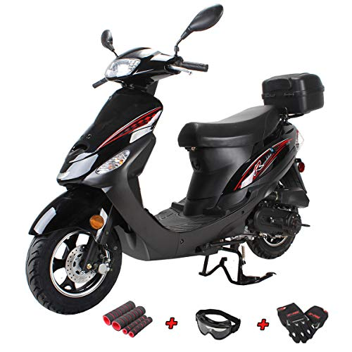 X-Pro 50cc Moped Scooter Gas Moped Scooter 50cc Moped Street Scooter Aluminum Wheels,Black
