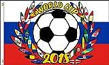 AZ FLAG Flagge FUßBALL-Weltmeisterschaft 2018 Russland Lorbeerkranz 150x90cm - World Cup Football Russia Fahne 90 x 150 cm - flaggen Top Qualität