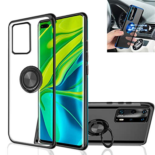Huawei P40 Pro Case,Clear Silicone TPU,360° Ring Kickstand Stand,Electroplated Metal Technology case,Shockproof Protection Thin Transparent Cover,for Huawei P40 Pro (Black)