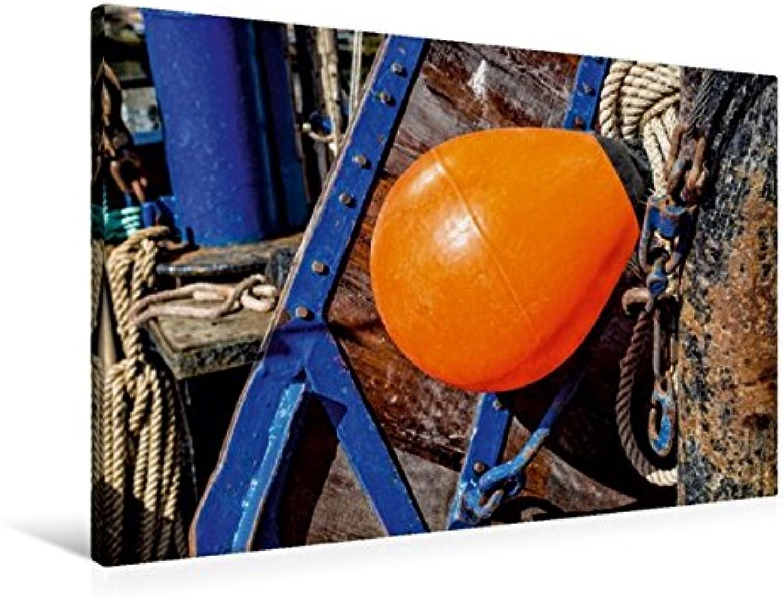 Calvendo Premium Textil-Leinwand 90 cm x 60 cm quer, Detail eines FischerStiefeles   Wandbild, Bild auf Keilrahmen, Fertigbild auf echter Leinwand, Leinwanddruck Natur Natur