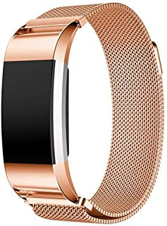 Milanese Loop Stainless Steel Metal Bracelet Strap with Unique Magnet Lock for Fitbit Charge 2,-Rose Gold