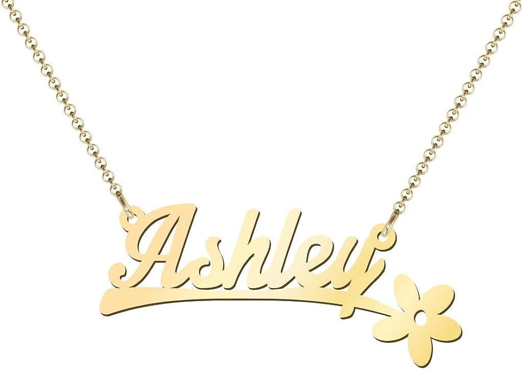 10K Flower Name Necklace by JEWLR