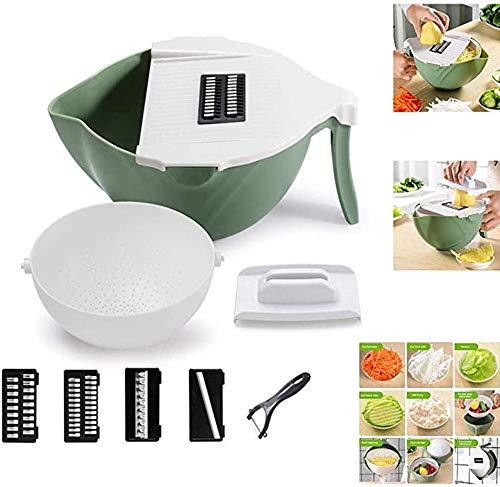 QHGao - Cortador de verduras, rallador para frutas y verduras multifunción de cocina, rallador con cesta de desagüe y cuchillas de acero inoxidable