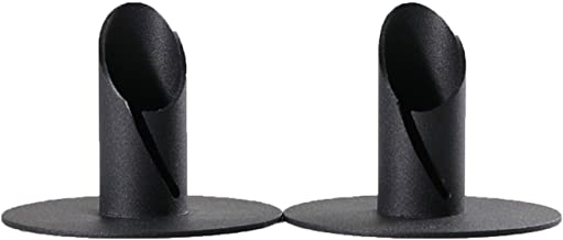 LLCHB Black Modern Classic Candle Holders Set of 2, Fits 3/4 inch Wrought Chamfered Candlestick Holder,Frosted Iron Candle...