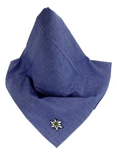 Kleinkariertes blaues Nickituch im Gabalier-Stil mit Edelweiß-Stickerei | Bandana aus 100% Baumwolle | 48 x 48 cm | Halstuch | Teichmann