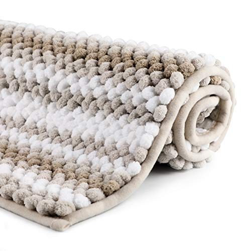 WELTRXE Chenille Striped Bath Rug Non-Slip Beige and White Bathroom Rug Mat, 32x 20, Extra Soft and Absorbent Shaggy Rugs, Machine Washable Plush Carpet Mats for Tub, Shower, Bath Room, Kitchen