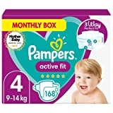 Baby Nappies Size 4 (9-15 kg/20-33 Lb), Active Fit, 168 Count, MONTHLY SAVINGS PACK, 360 Degree Comfort Fit Size 4 Active Fit - B08KVGGKKN