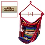 Club Fun Hanging Rope Chair, for Indoor or Outdoor Relaxation and Fun, Red