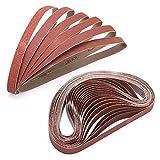 1x30 inch Sanding Belt, 30PCS(5 Each of 40 80 120 150 240 400 Grit) Assorted Aluminum Oxide Assortment for Knife Sharpening Metal Craftsman Woodworking Leather Honing Wood Steel Fine Coarse Polishing