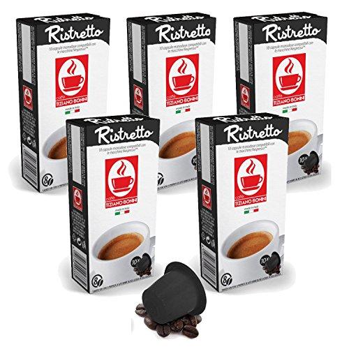 Bonini Kaffeekapseln, Ristretto - Nespresso kompatibel - 5er-Pack (5 x 10 Kapseln)