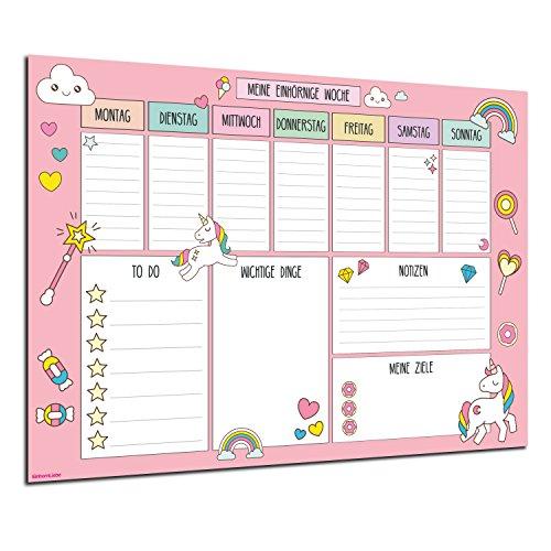 Schreibtischunterlage XXL Einhorn Unicorn Wochenplaner DIN A2 Schreibunterlage zum abreißen für Kinder, Mädchen & Erwachsene To-Do Liste/EinhornLiebe