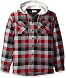 Wrangler Authentics Men's Long Sleeve Quilted Line Flannel Jacket with Hood, Biking Red with Gray hood, M