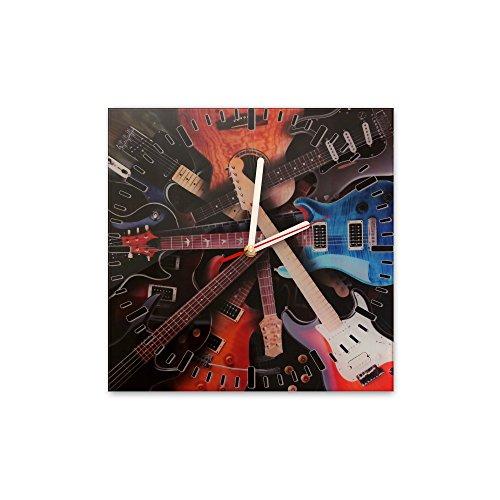 Bilderdepot24 Wanduhr aus Glas 30x30cm - 226 - Gitarren - Uhr aus Glas - Glasuhr - 3D Optik - Analog - dekoratives Muster - günstig - Ziffernblatt - Uhrwerk - Wanduhr - Uhrzeit