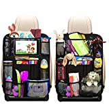 Heyham Backseat Car Organizer, Kick Mats Back Seat Protector with 10' Touch Screen Tablet Holder + 12 Storage Pockets, Car Organizer Back Seat for Kids & Toddlers, Car Travel Accessories (2 Pack)