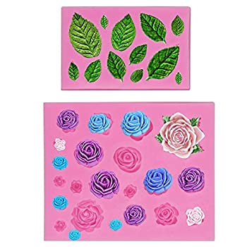 Mity rain Roses Collection Fondant Mold-Rose Flower and Leaves Shapes Silicone Mold for Sugarcraft Cake Decoration Cupcake Topper Polymer Clay Candy Chocolate Soap Wax Making Crafting Projects