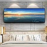 Paisaje Lienzo Pintura Cielo Nubes Atardeceres Mar natural Playa Panorama Carteles e impresiones Cuadro de pared para sala de estar 50x150cm (20x59in) Con marco