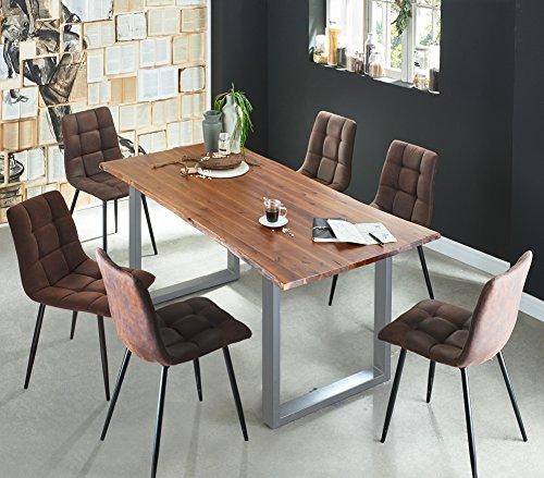 SAM 7 TLG. Essgruppe Ida, Baumkantentisch 160x85 cm, Akazie-Holz cognacfarben, Gestell Silber, 6X Schalenstuhl ULF braun