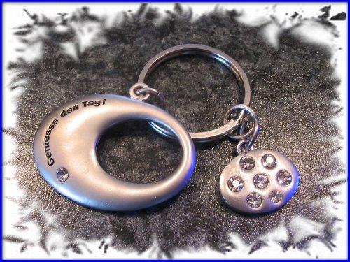 Schlüsselanhänger Edelstahl Oval mit Lebensweißheit Anhänger