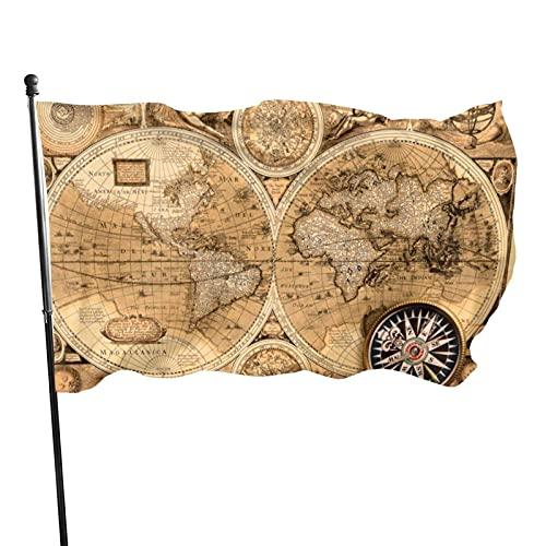 GOSMAO Bandera de jardín Mapa del Mundo Colores Vivos y Resistente a la decoloración UV Bandera de Patio de Doble Costura Bandera de Temporada Banderas de Pared 150X90cm