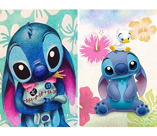 2 Pack 5D Full Drill Diamond Painting Kit, UNIME DIY Diamond Rhinestone Painting Kits for Adults and Beginner Embroidery Arts Craft Home Decor, 16 X 12 Inch (Cute Stitch)