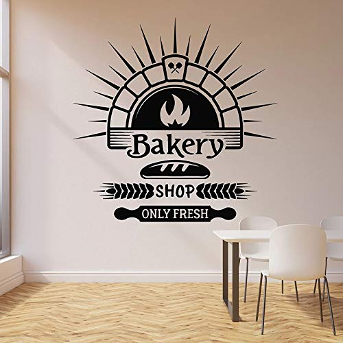 HGFDHG Calcomanías de Pared de panadería Solo Tienda Fresca panadería Pan Productos horneados Cocina decoración de Interiores Vinilo Ventana Pegatina Logo Mural