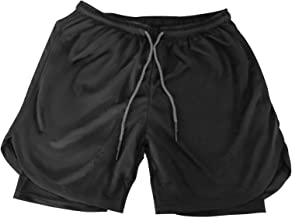 Men's Workout Running Shorts 2-in-1 Athletic Short with Zipper Pockets