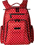 JuJuBe Be Right Back Multi-Functional Structured Backpack/Diaper Bag, Onyx Collection - Black Ruby - Red/White Polka Dots