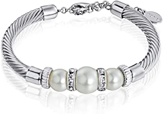 Mestige MSBR3210 Rhodium Plated Pearl Bracelet for Women