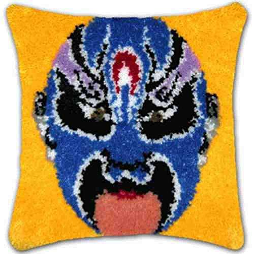 Cushion Latch Hook Kits,DIY Werfen Kissenbezug Materialien Paket, Chinesische Charakteristik Drama Maske Blau Gesicht Muster Hand Handwerk Häkeln Teppich Garn Kissenstickerei, Herausforderung Gesche