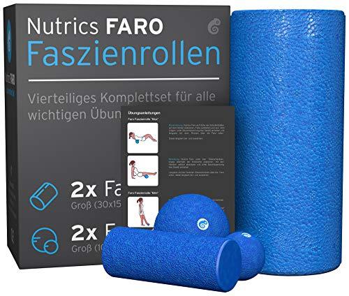 NUTRICS | FaRo Faszienrolle | Komplettset 4 Teilig inkl. Übungsanleitungen | Damen und Herren