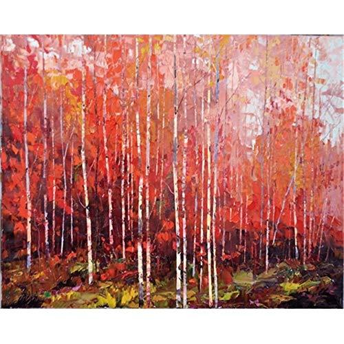 zgldx73 Pintura al óleo de Arce Rojo Pintura de Lienzo Abstracta impresión de póster impresión Moderna decoración de la Sala Pintura Sala de Estar mural60x48cm sin Marco